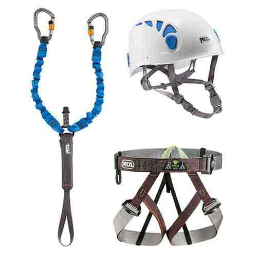 Kit: Via Ferrata kit. Helmet, Harness and Lanyard - Click Image to Close